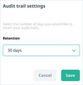 Audit Trail Settings screen