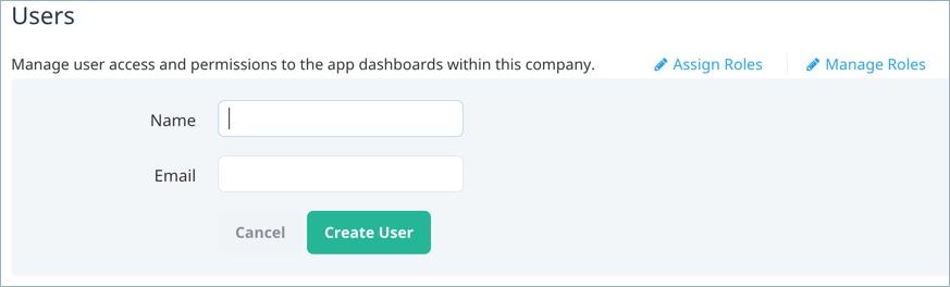 Create new user screen