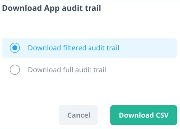 Audit Trail download CSV