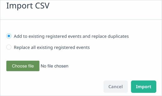 Import CSV screen