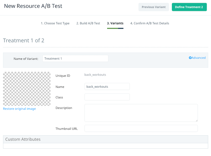 Resource A/B test define variants
