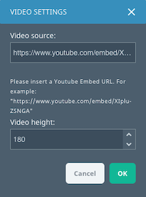 Conversations editor video settings