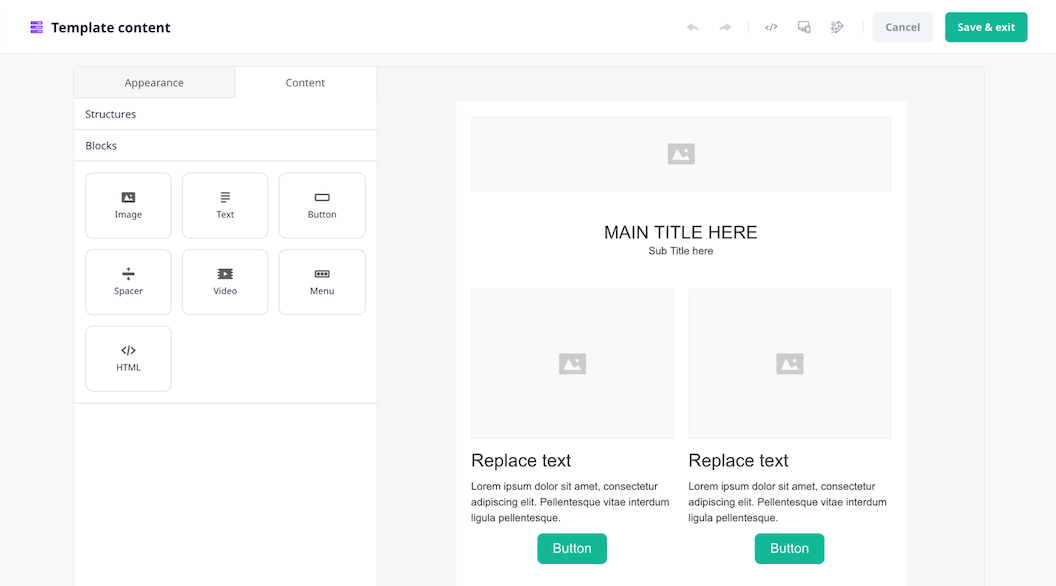 Email template content editor