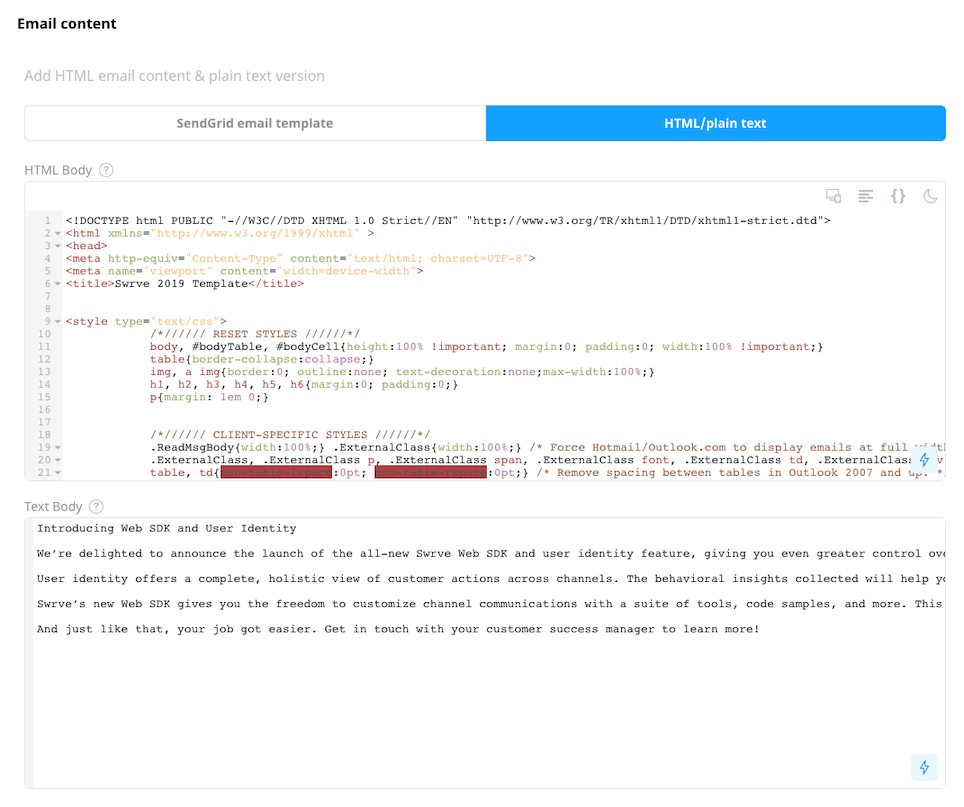 Third party email content HTML and plain text