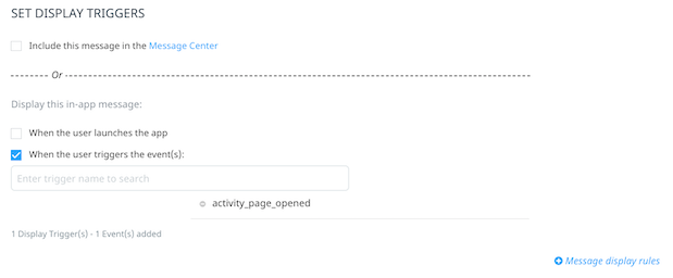 Display trigger activity page opened