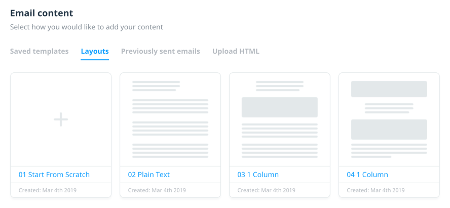Email content layouts