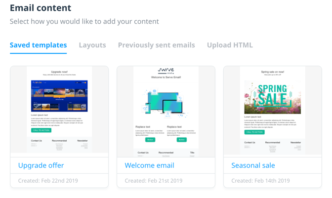 Email content saved templates