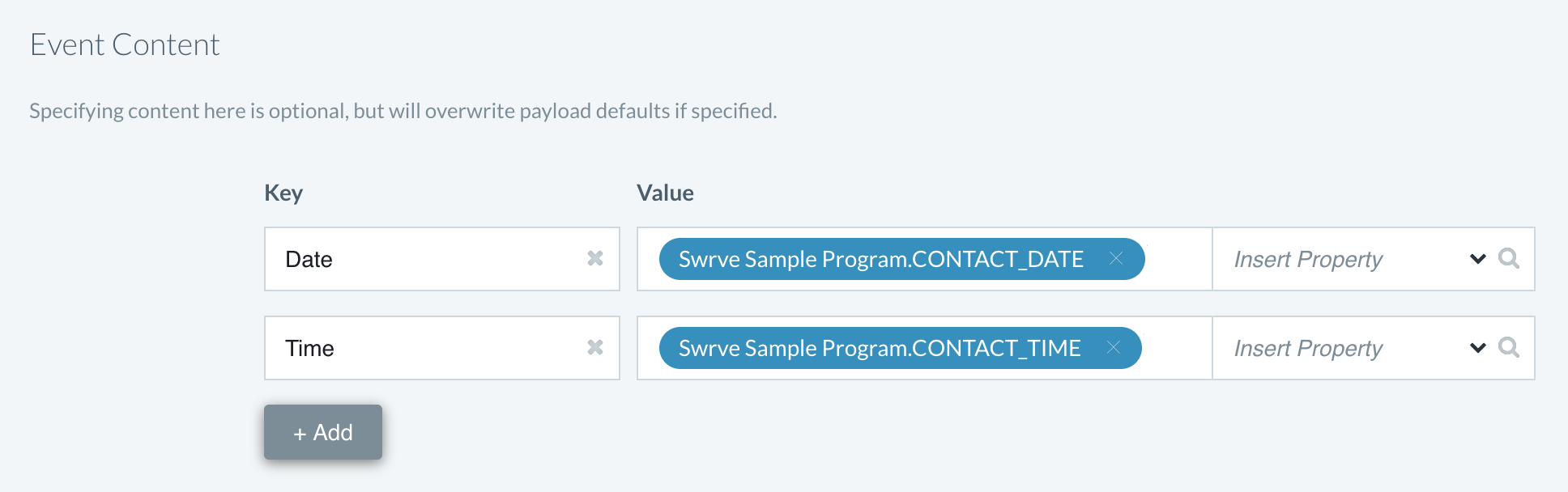 Track event with event payload content