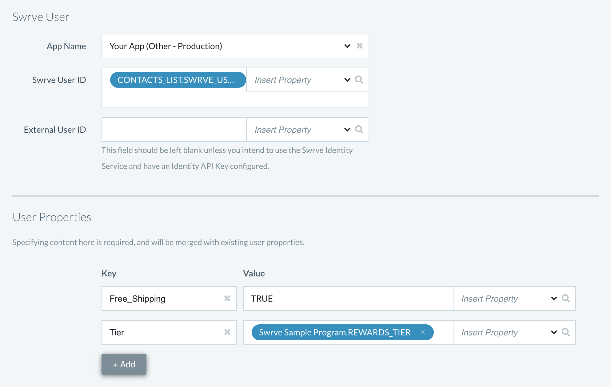 Update User Properties with values