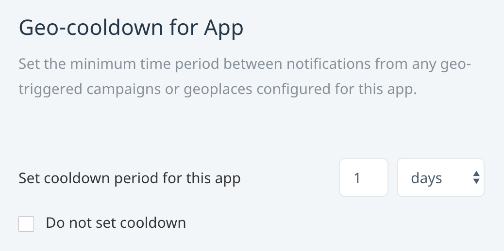 App-wide cooldown period for geo-triggered notifications