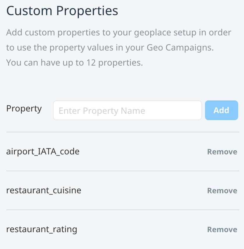 Geoplace custom properties