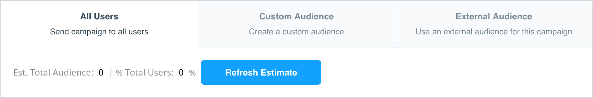 Campaign audience builder with custom audience and external audience tabs