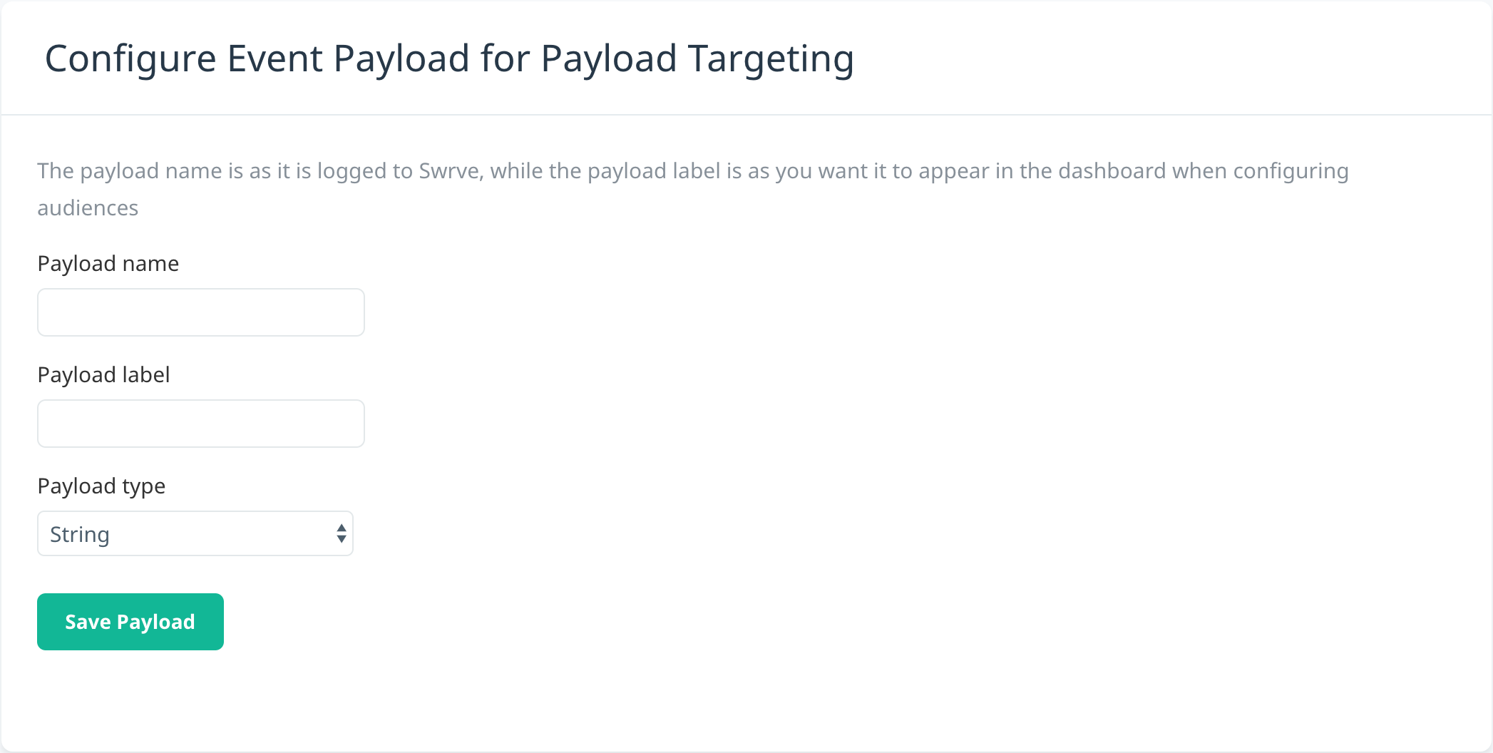 Configure event payload