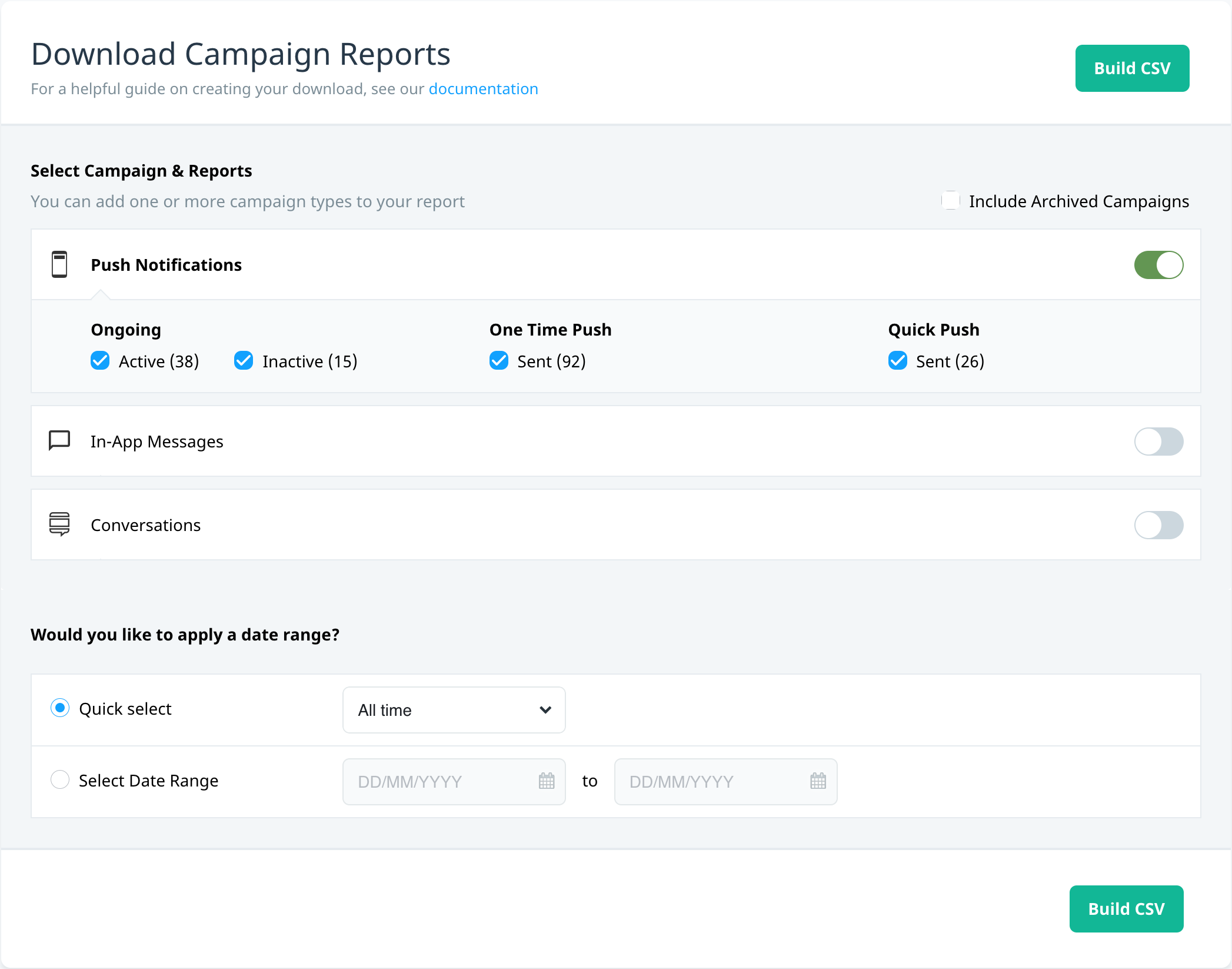 Download campaign reports screen
