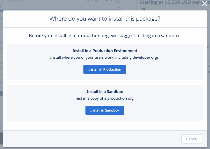 Select environment in which to install package - production or sandbox