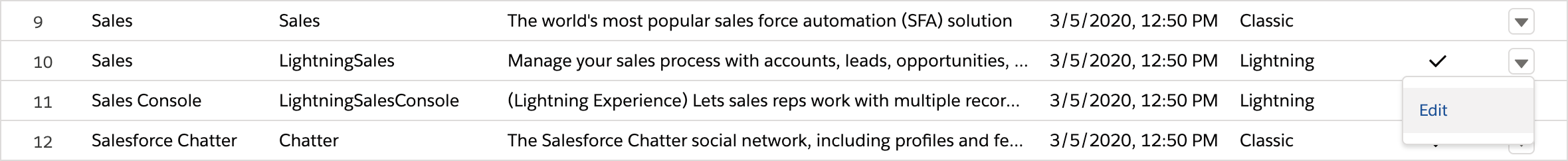 Sales app edit menu
