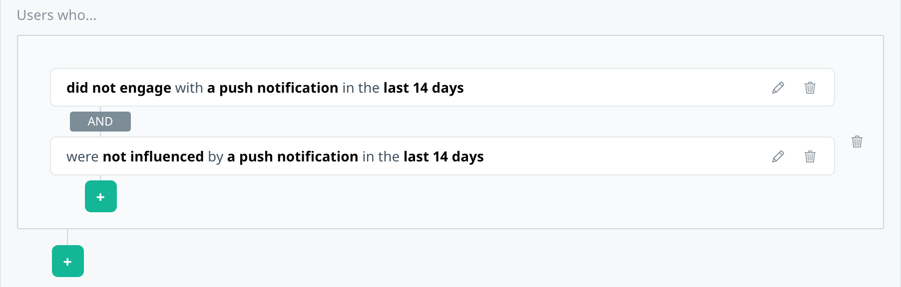 Filter summary showing multiple filters to target users who did not engage or influenced by notification