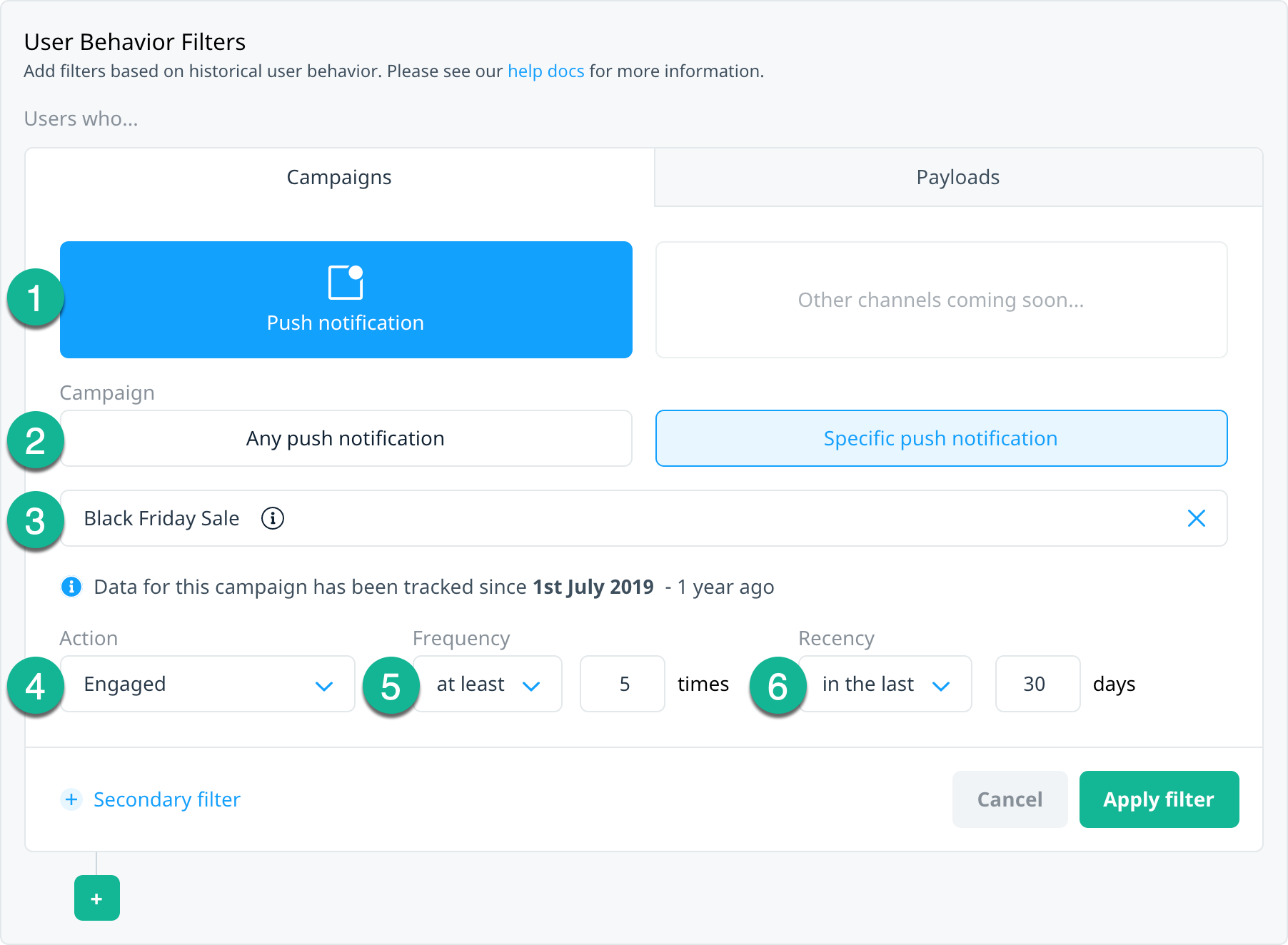 User Behavior filters with Campaigns tab and audience filters