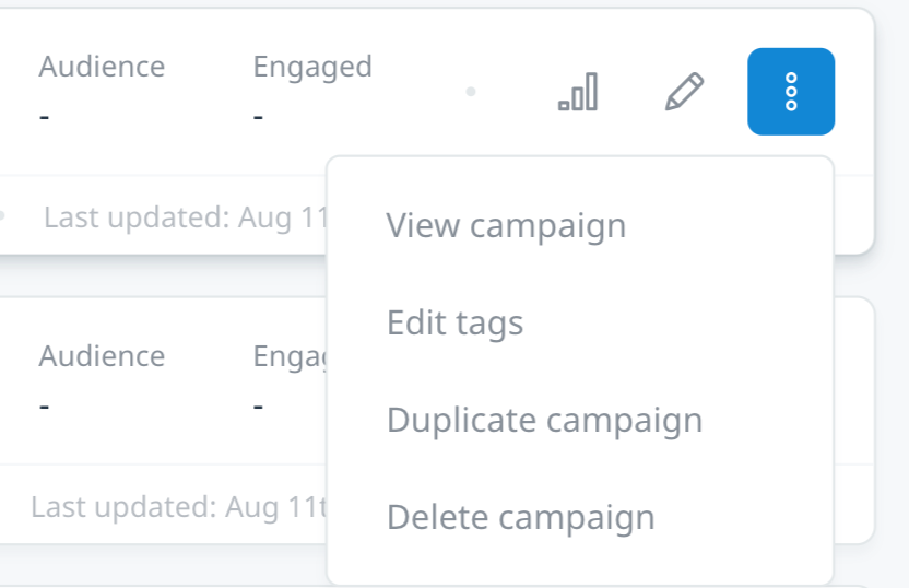Campaign action options on Campaign Index page