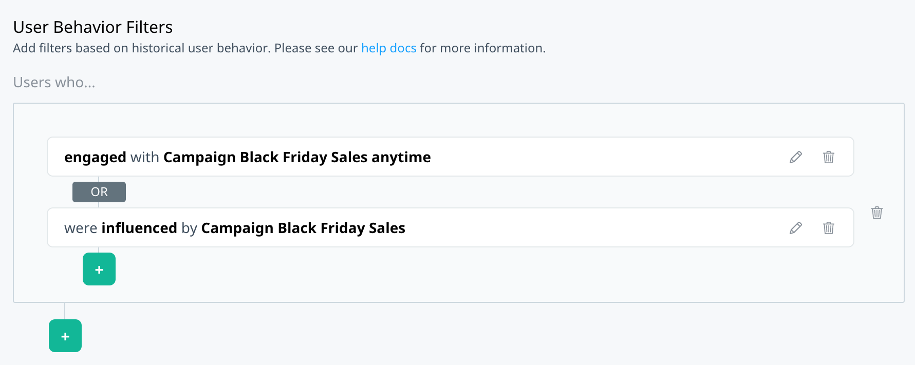 Black Friday engaged and influenced filters joined by OR operator