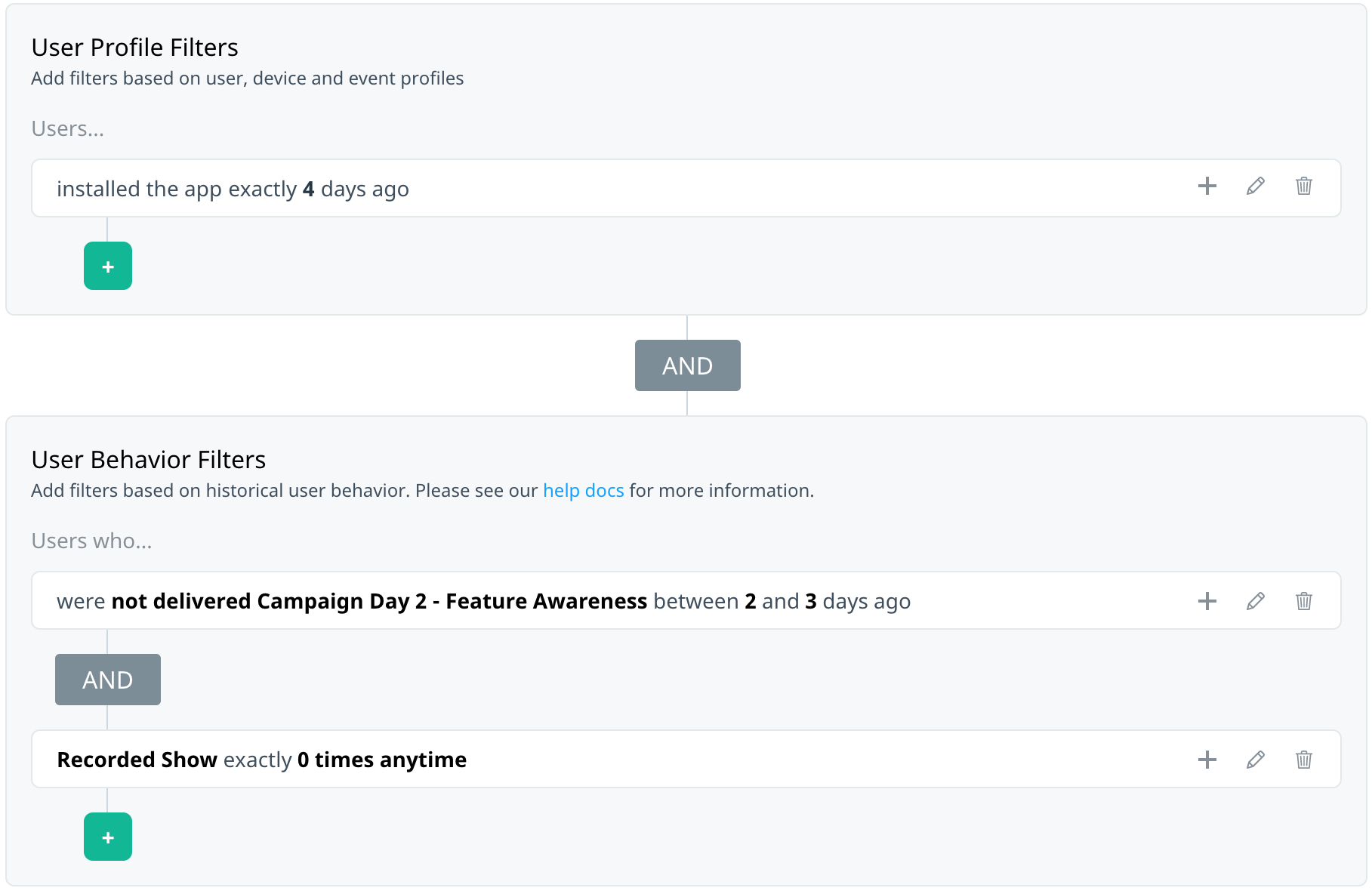 Audience with user profile and behavior filters joined
