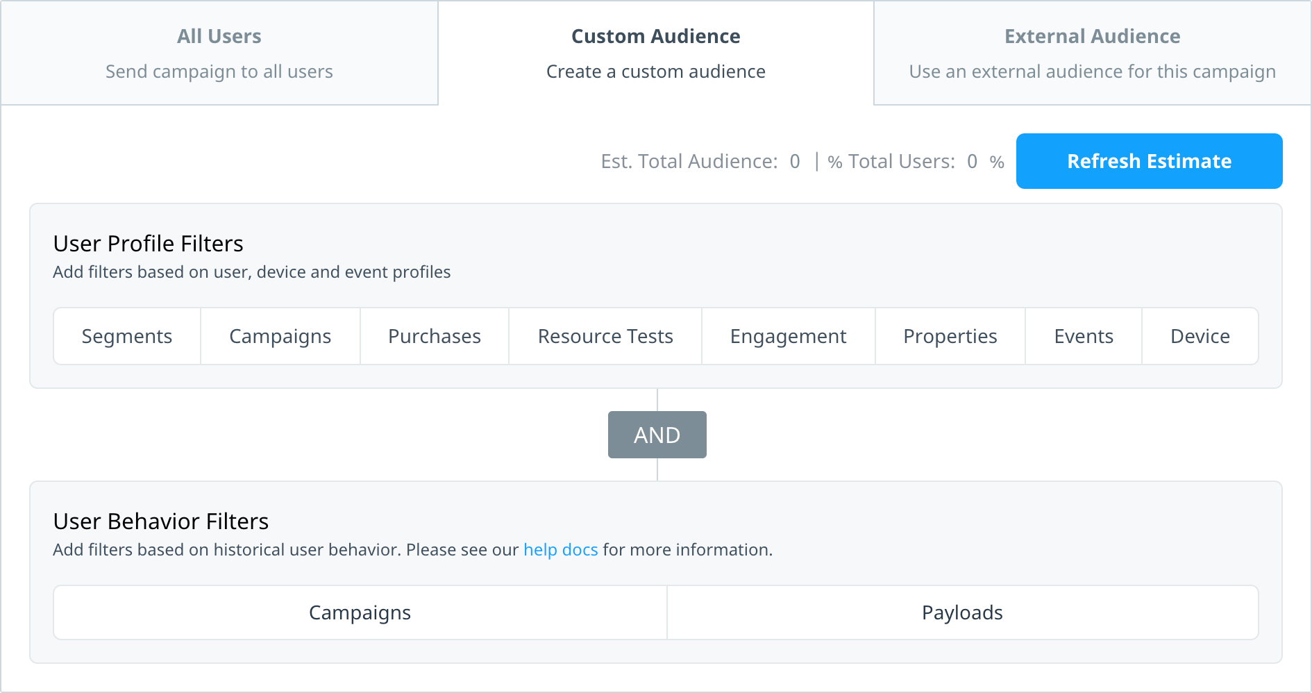 Custom audience tab with user profile and user behaviour audience filters