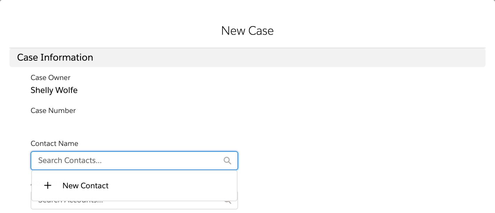 Create new contact option as part of creating a new case