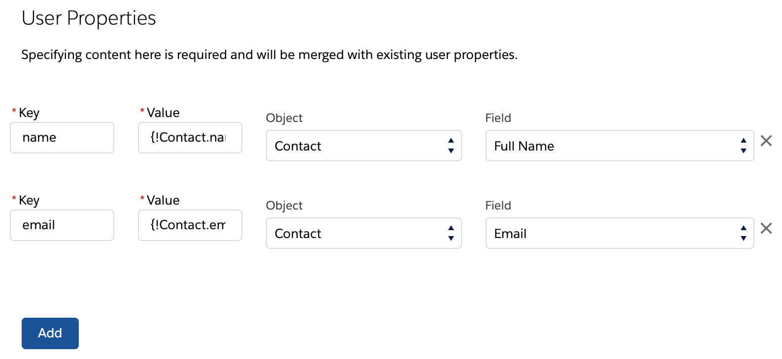 User Update key and value fields for updating user profile