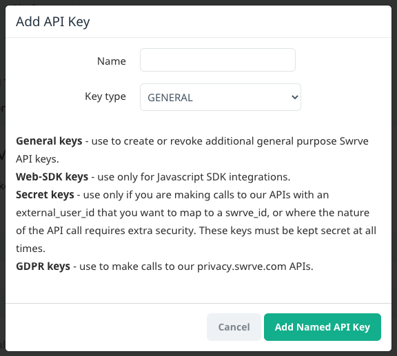 Add API Key dialog box with list of available API key types.