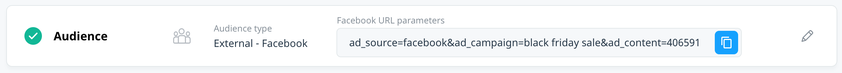 audience block with facebook url parameters