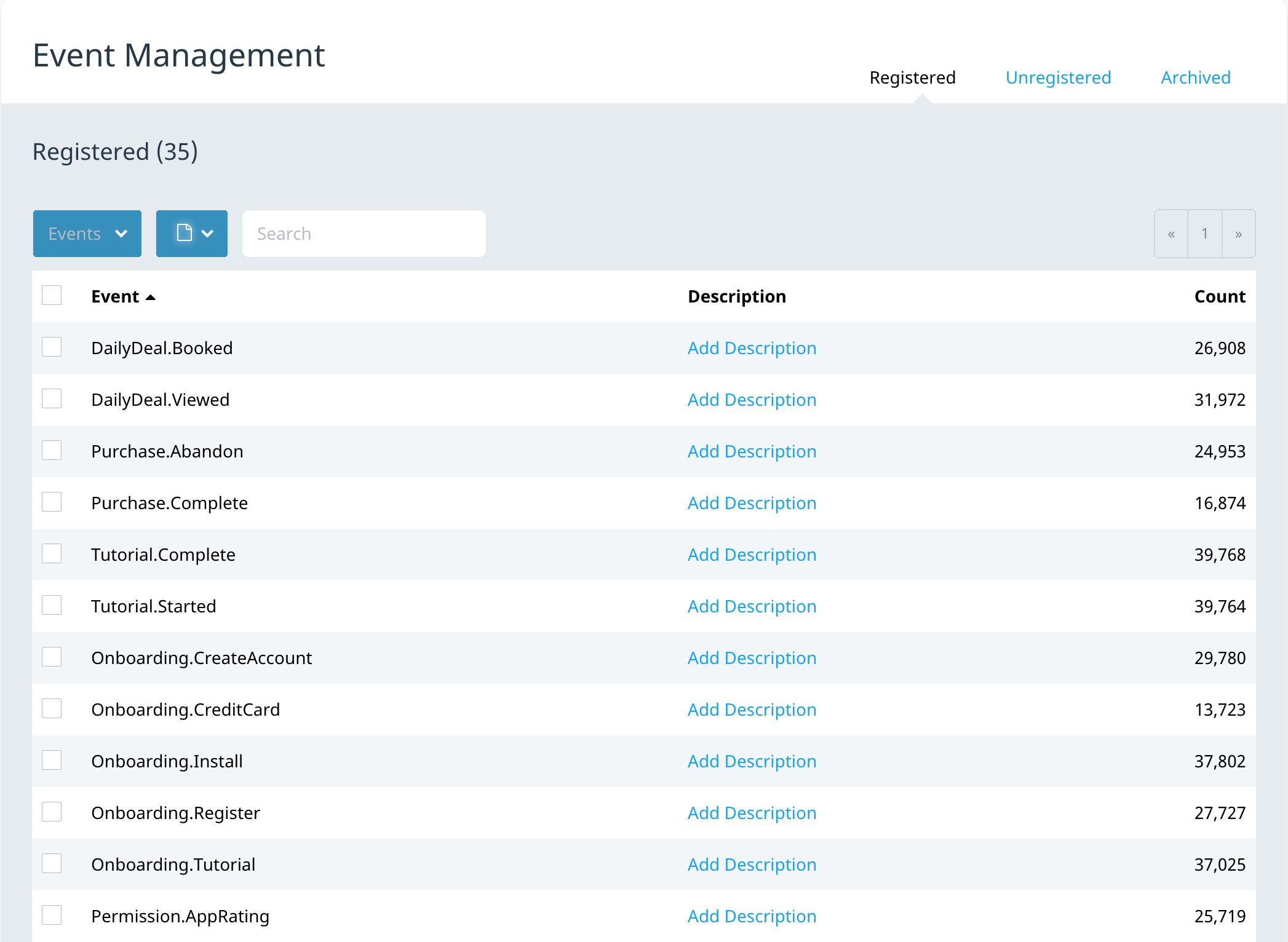 Event Management screen