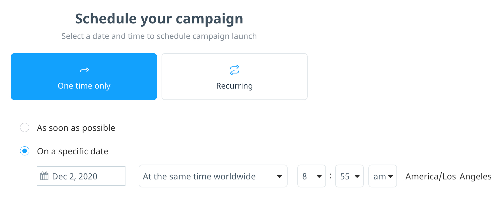 Scheduling a batch campaign to be delivered on a specific date and time