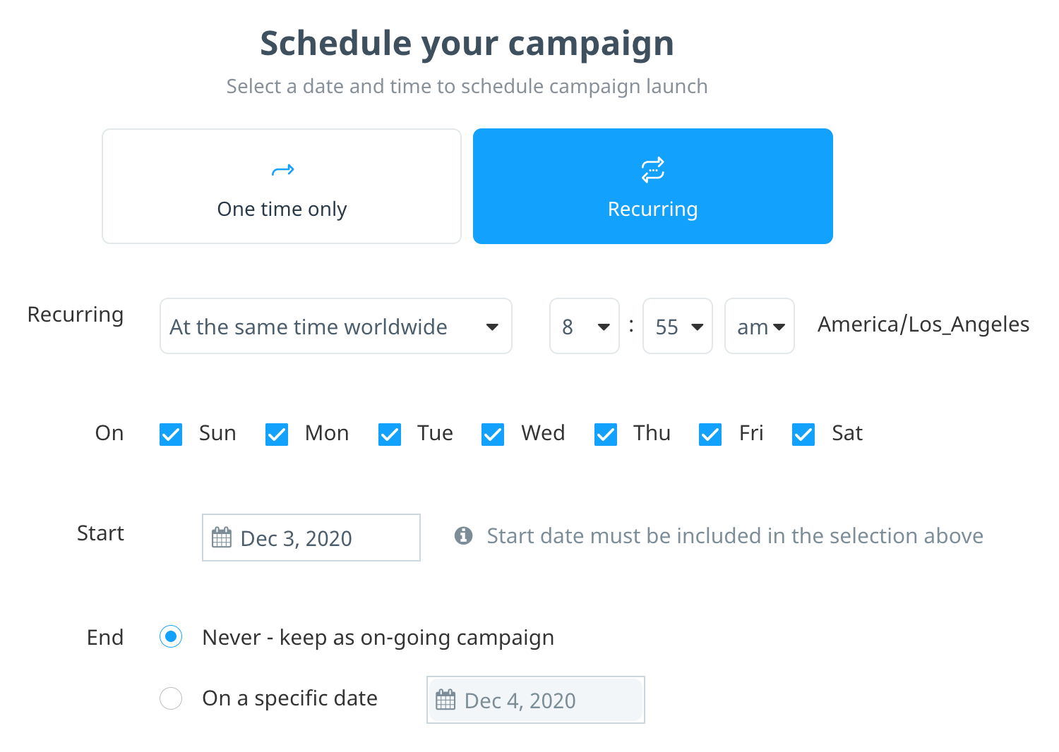 Schedule for a recurring campaign sent daily at the same time worldwide