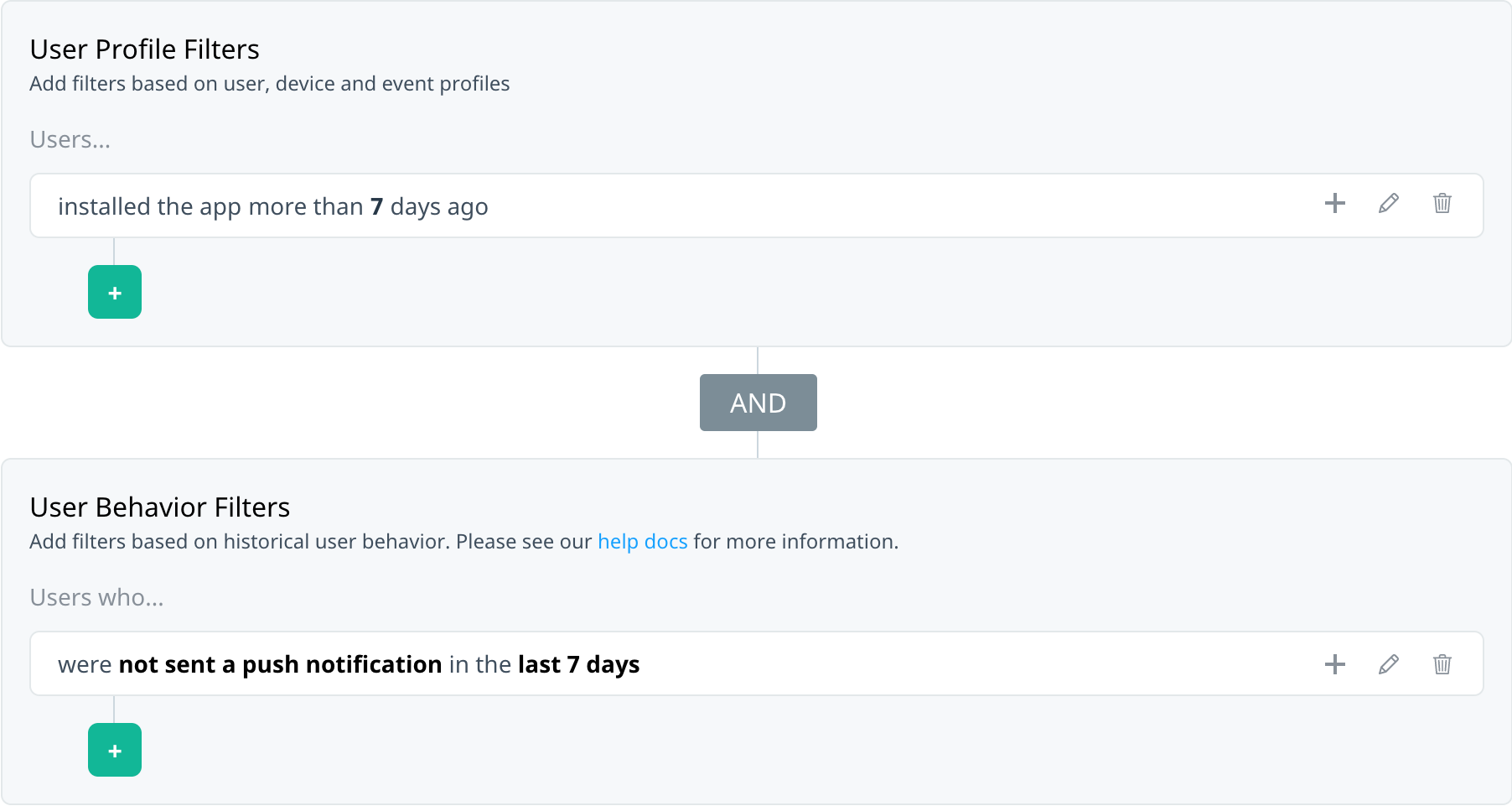 Filter summary showing a user profile filter and user behaviour campaign retargeting filter