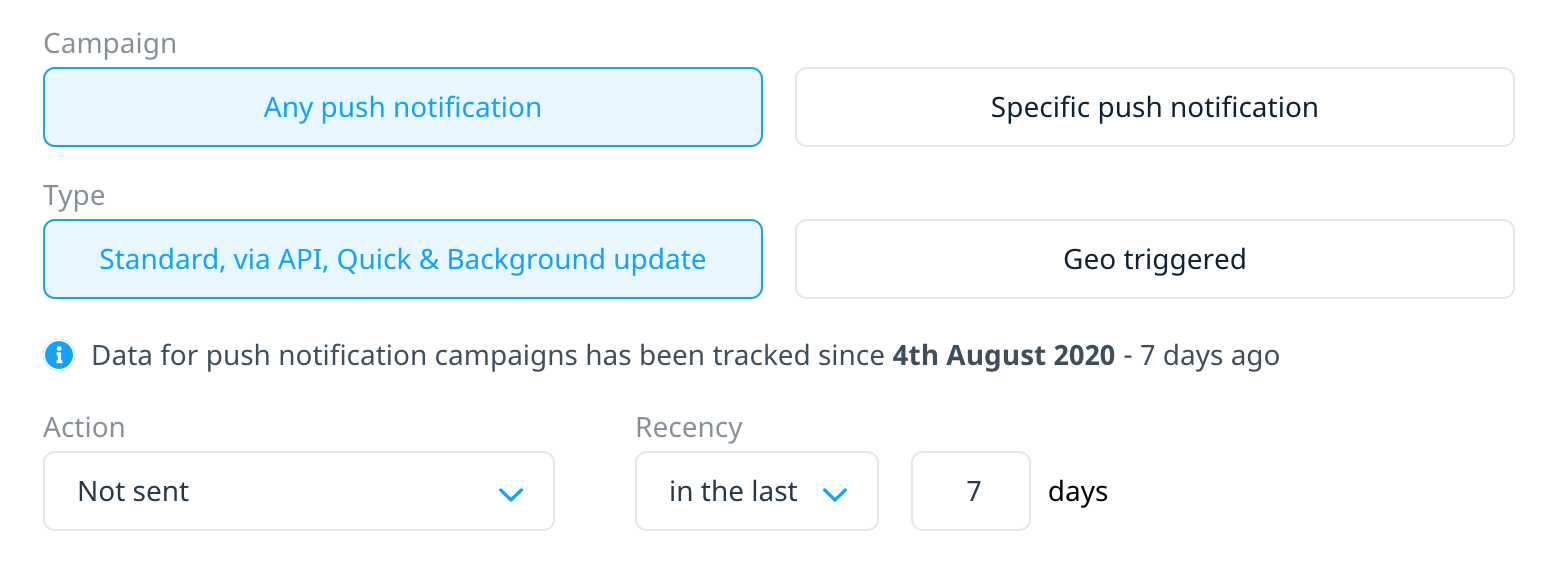 Targeting users who were not sent any push notifications in the last 7 days