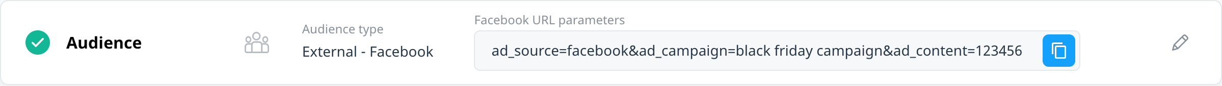 The campaign Audience block, showing an external audience of Facebook and the URL you must copy to your linked Facebook campaign