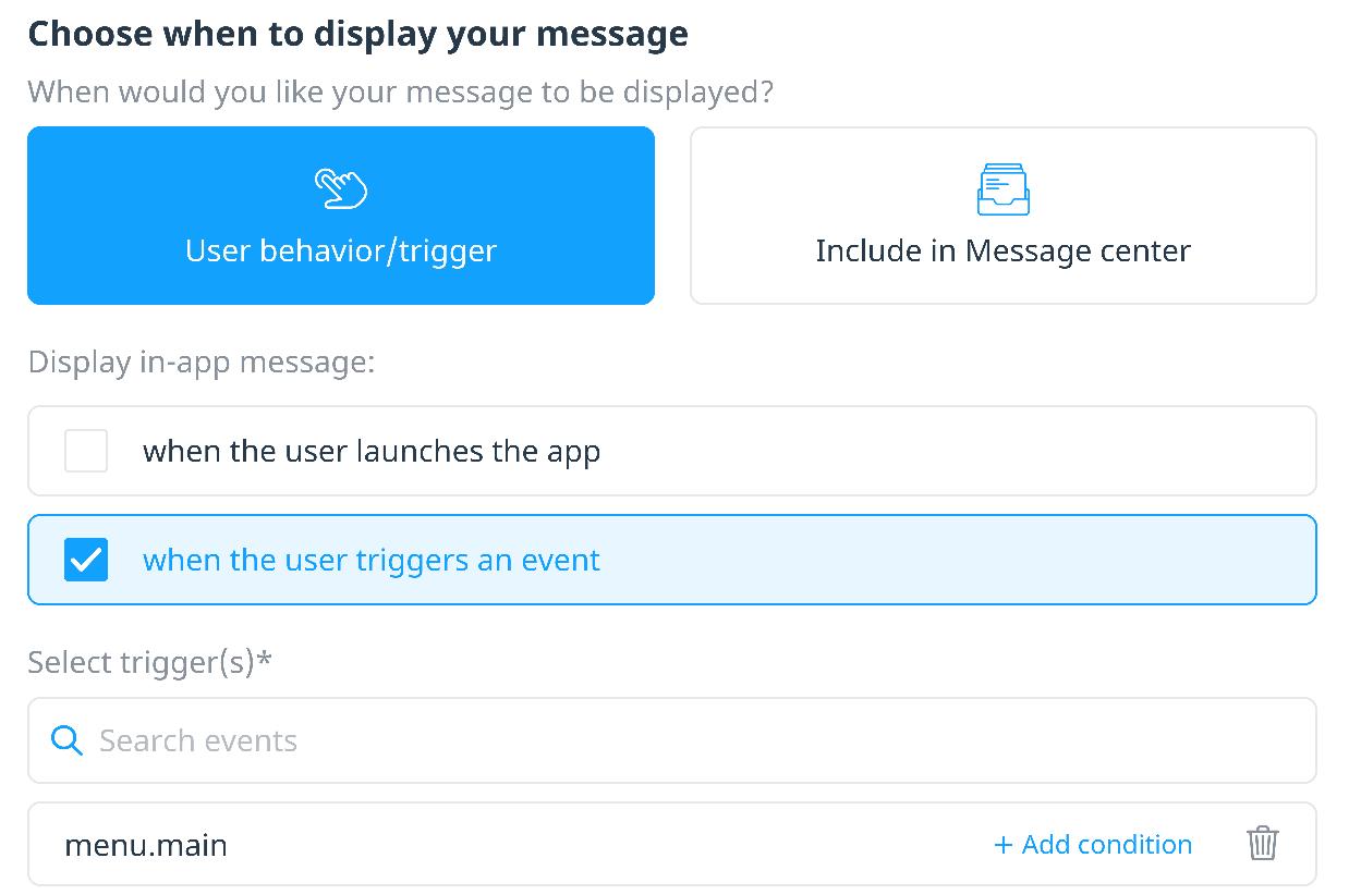 Set message display triggers