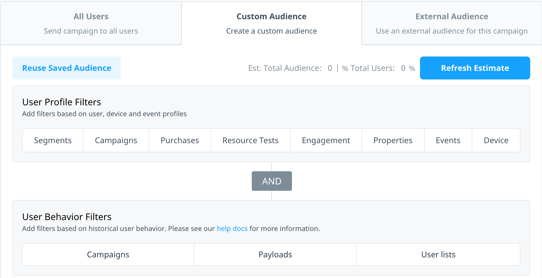 Custom audience tab with user profile and user behavior audience filters